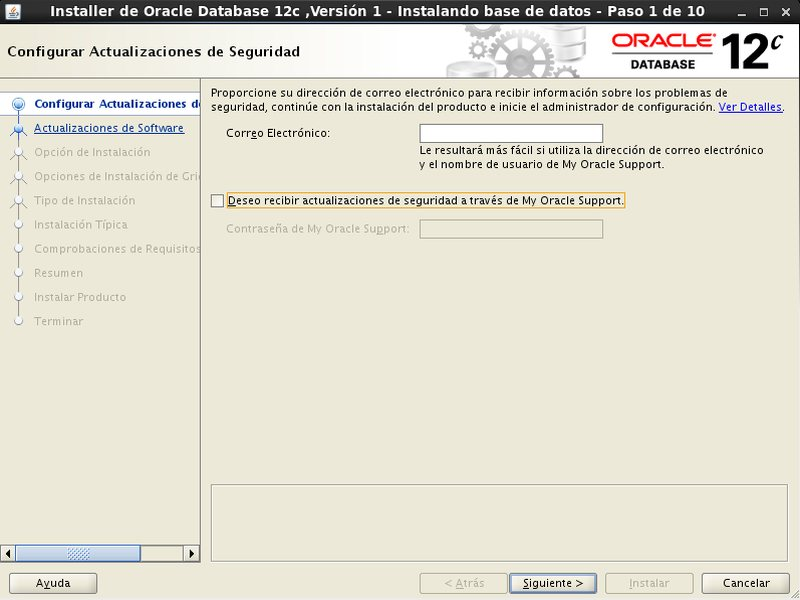 instalación Oracle Database 12c - Centos - 1 - actualizaciones de seguridad