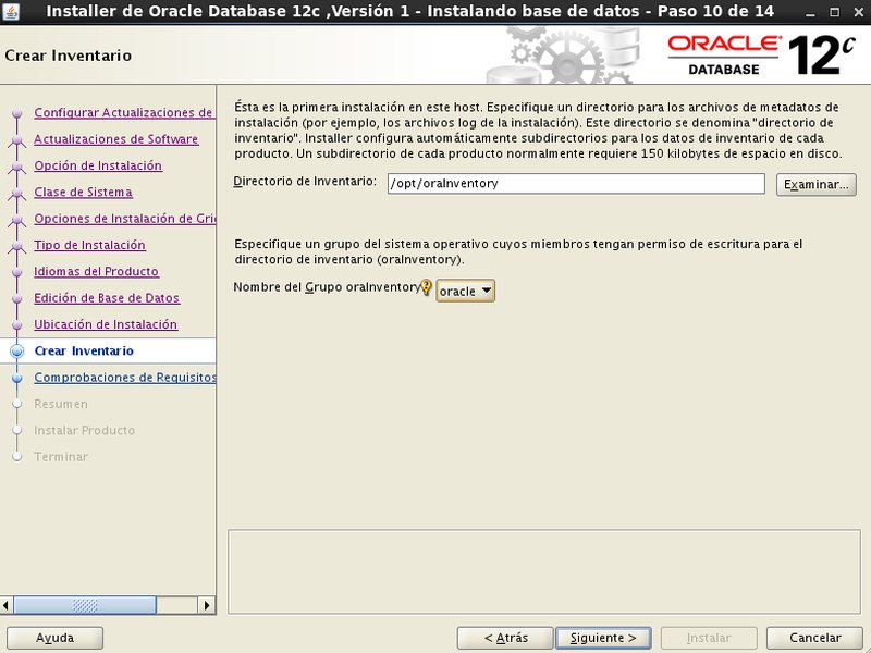 instalación Oracle Database 12c - Centos - 10_1 - Crear inventario Oracle