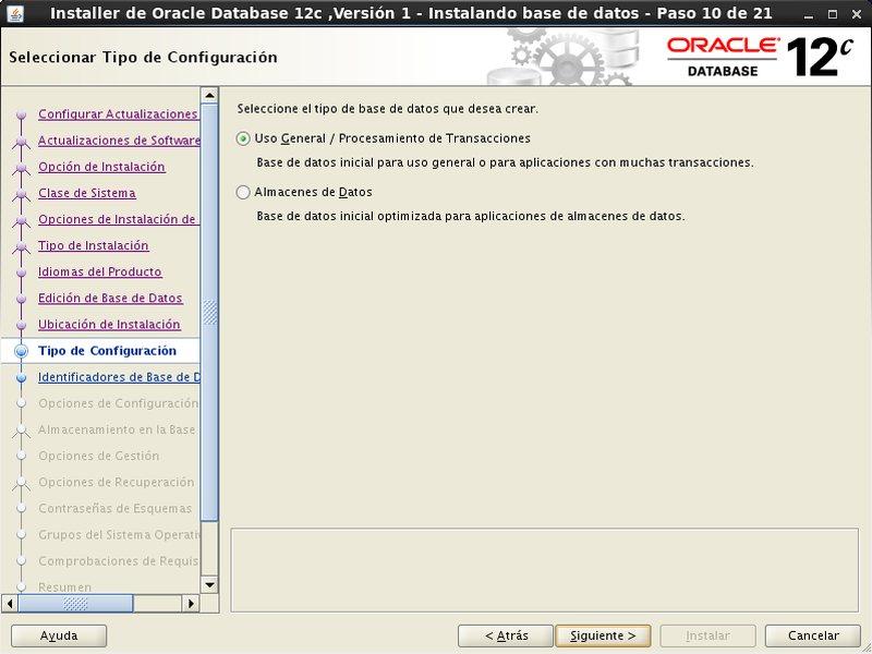 instalación Oracle Database 12c - Centos - 10_2 - Tipo configuracion