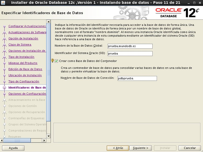 instalación Oracle Database 12c - Centos - 11 - Identificadores de base de datos