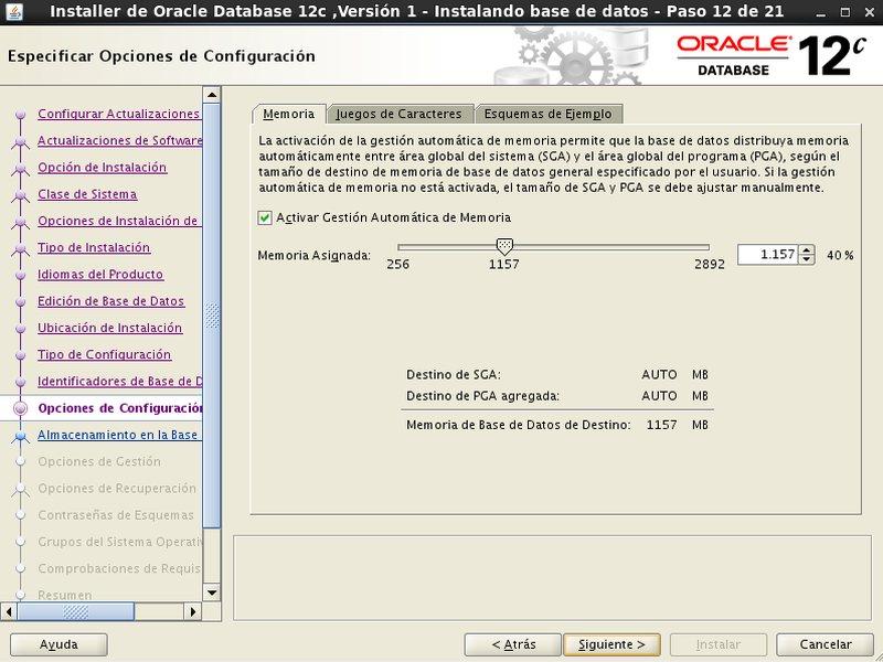 instalación Oracle Database 12c - Centos - 12_1 - Opciones configuracion Memoria