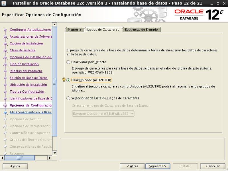 instalación Oracle Database 12c - Centos - 12_2 - Opciones configuracion Juego de caracteres