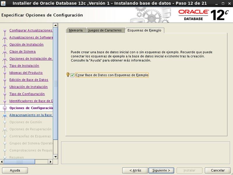 instalación Oracle Database 12c - Centos - 12_3 - Opciones configuracion Esquemas de ejemplo