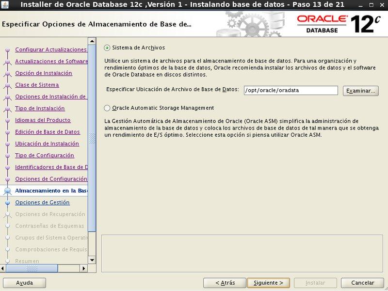 instalación Oracle Database 12c - Centos - 13 - Opciones almacenamiento en la base de datos