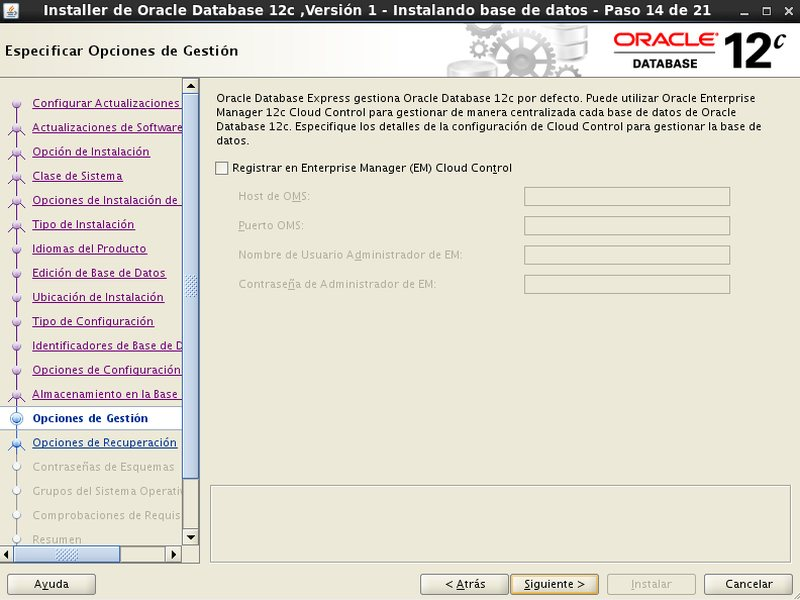 instalación Oracle Database 12c - Centos - 14 - Opciones de gestion