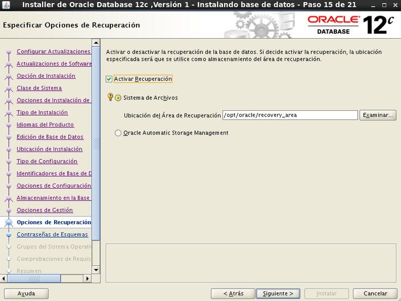 instalación Oracle Database 12c - Centos - 15 - Opciones de recuperacion