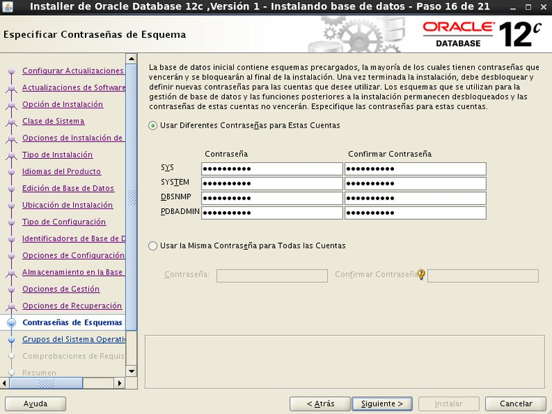 instalación Oracle Database 12c - Centos - 16 - Password esquema
