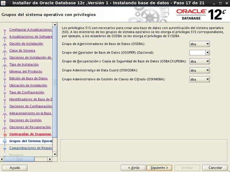 instalación Oracle Database 12c - Centos - 17 - Grupos sistema operativo