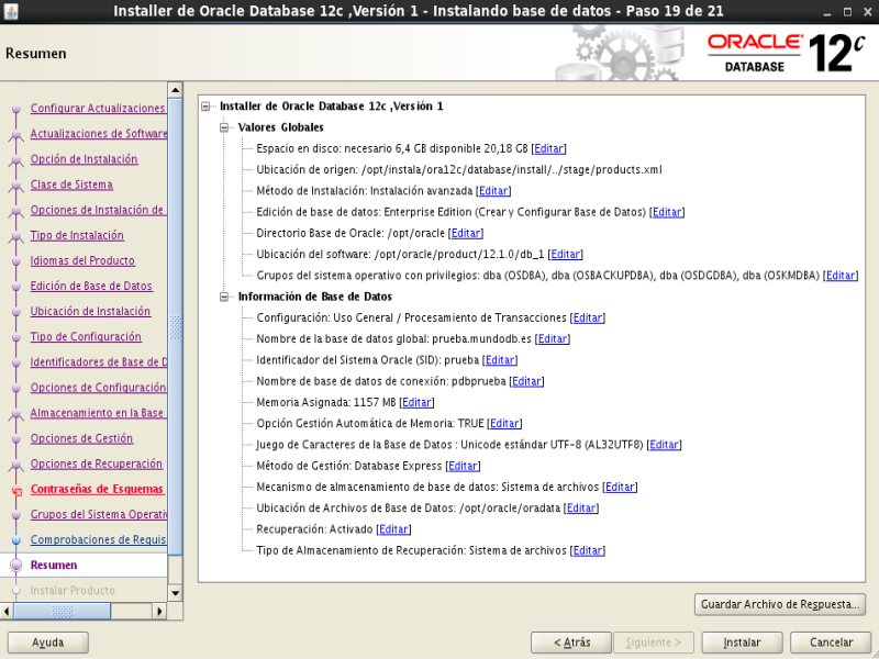 instalación Oracle Database 12c - Centos - 19 - Resumen