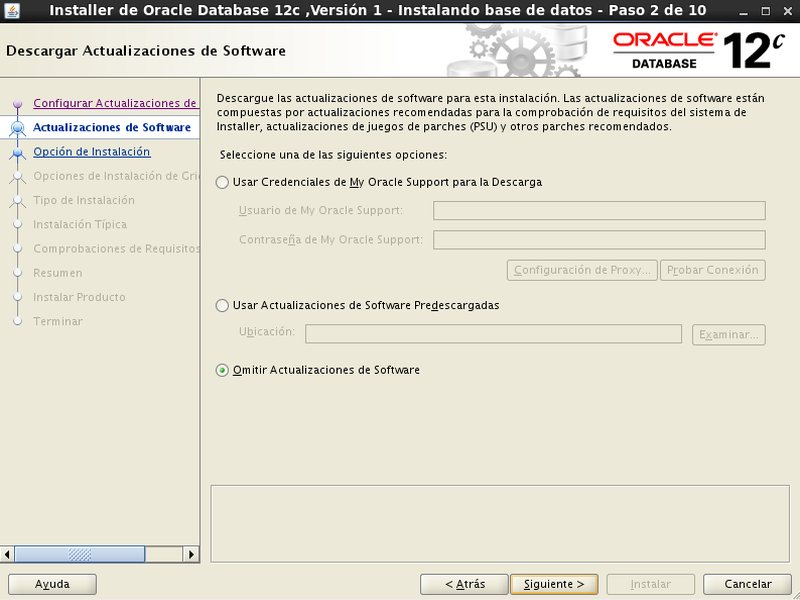 instalacion Oracle Database 12c - Centos - 2 -  Descarga actualizaciones software