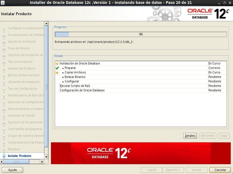 instalación Oracle Database 12c - Centos - 20 - Instalar producto