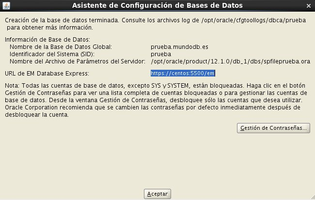instalación Oracle Database 12c - Centos - 20_2 - Resumen fin instalacion