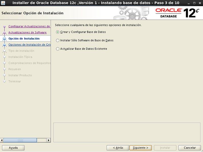 instalación Oracle Database 12c - Centos - 3 - opciones de instalacion