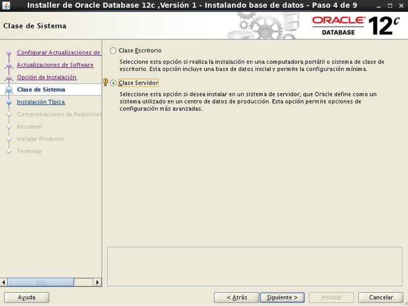 instalación Oracle Database 12c - Centos - 4 - clase de sistema