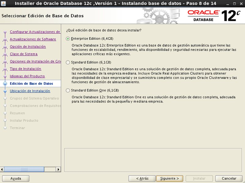 instalación Oracle Database 12c - Centos - 8 - Edicion de base de datos