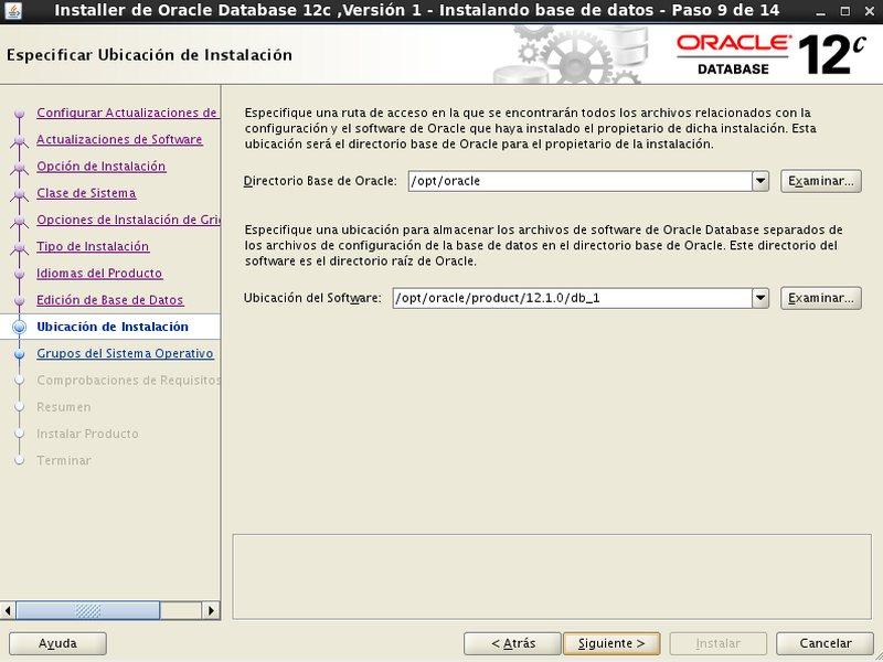 instalación Oracle Database 12c - Centos - 9 - ubicacion de instalacion